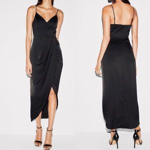 Black satin fit and flare wrap dress 🍾